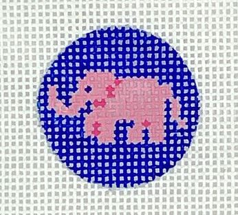 click here to view larger image of Pink Elephant Key Ring Insert (hand painted canvases 2)