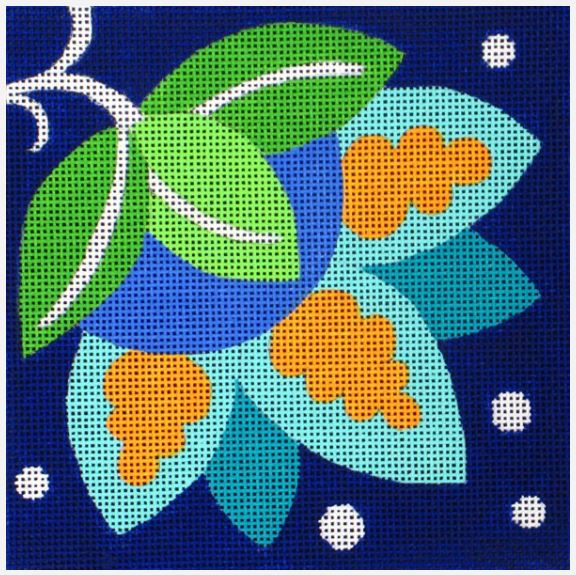 click here to view larger image of Blue Pinwheel Bud (hand painted canvases)