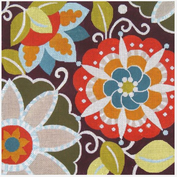 click here to view larger image of Fall Pinwheel Floral (hand painted canvases)