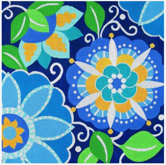 click here to view larger image of Blue Pinwheel Small (hand painted canvases)