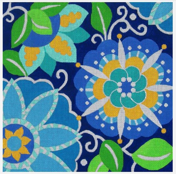 click here to view larger image of Blue Pinwheel Floral (hand painted canvases)