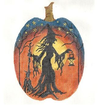 click here to view larger image of Witch Silhouette Pumpkin (hand painted canvases)