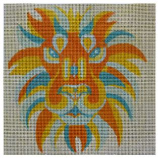 click here to view larger image of Color Block Lion (hand painted canvases)
