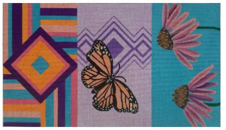 click here to view larger image of Butterfly/Cone Flower Tri-Fold Clutch (hand painted canvases)