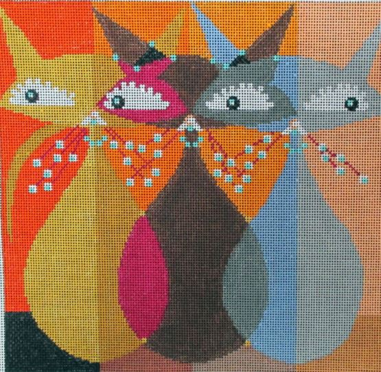 click here to view larger image of Bystander Cats (hand painted canvases)