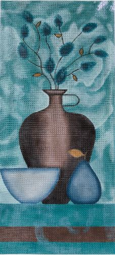click here to view larger image of Blue Floral Yellow Pear (hand painted canvases)