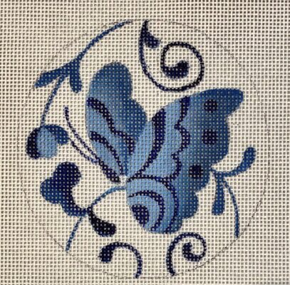 click here to view larger image of Blue Butterfly Round Ornament (hand painted canvases)