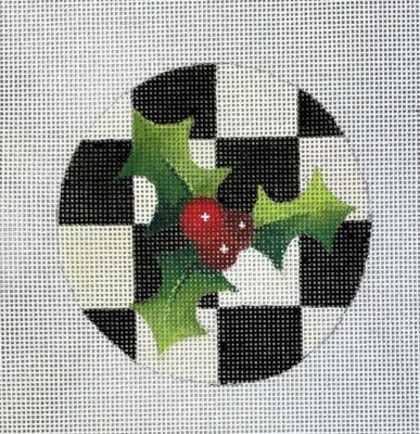 click here to view larger image of Holly Checked Round Ornament (hand painted canvases)