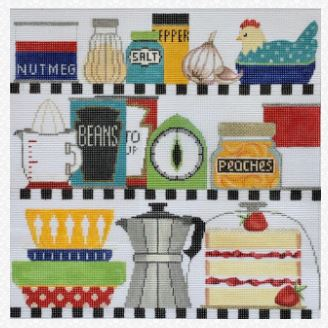 click here to view larger image of Retro Kitchen Shelves (hand painted canvases)