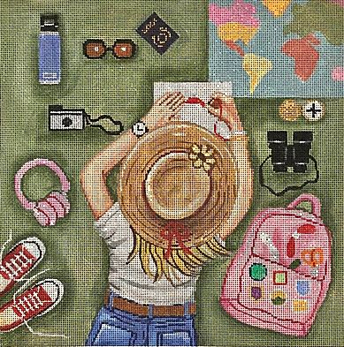 Stitching Girl - World Traveler hand painted canvases