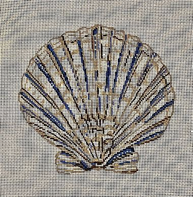 click here to view larger image of Blue and Tan Scallop (hand painted canvases)