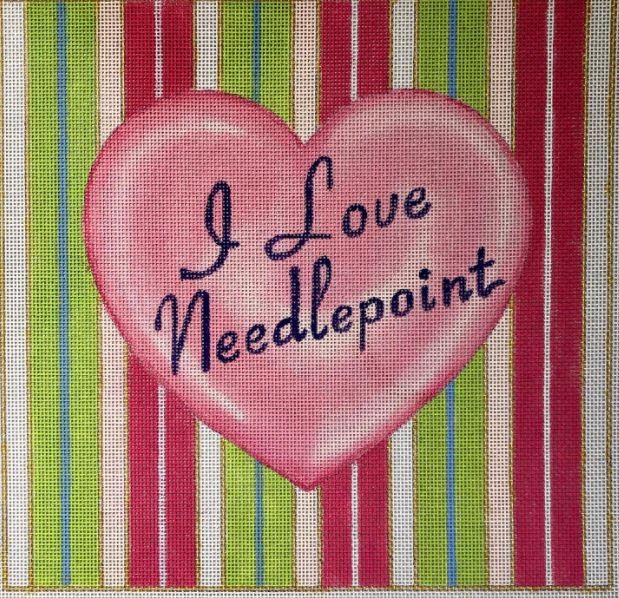click here to view larger image of I Love Needlepoint - Square (hand painted canvases)