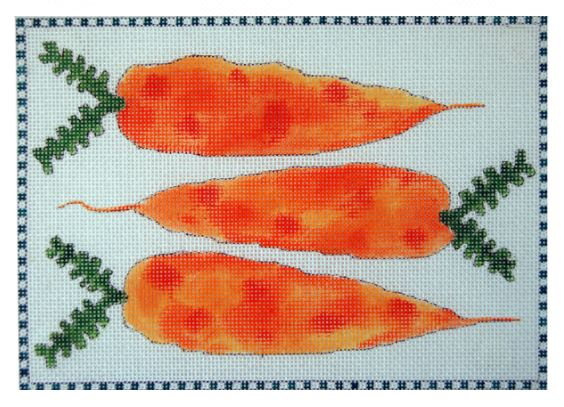 click here to view larger image of 3 Little Carrots (hand painted canvases)