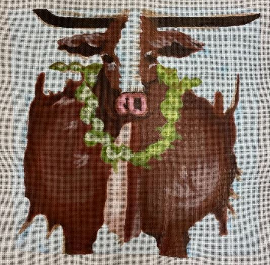 click here to view larger image of Steer w/Wreath (hand painted canvases)