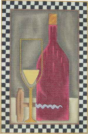 click here to view larger image of Bottle of Red (hand painted canvases)