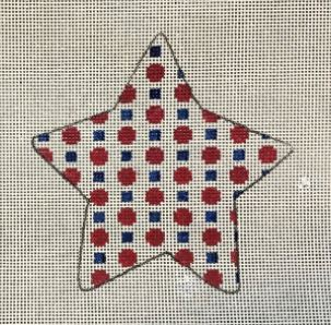 click here to view larger image of Americana Dots Star (hand painted canvases)