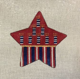 click here to view larger image of Americana Firecracker Star (hand painted canvases)