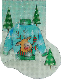 click here to view larger image of Reindeer Ugly Sweater (hand painted canvases)