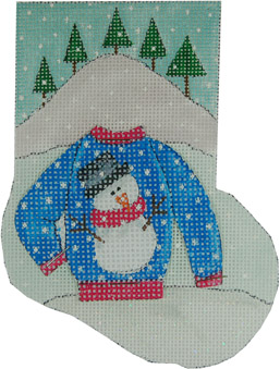click here to view larger image of Snowman Ugly Sweater Mini Stocking (hand painted canvases)