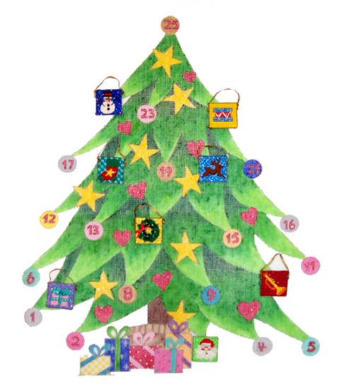 click here to view larger image of Advent Christmas Tree (hand painted canvases)