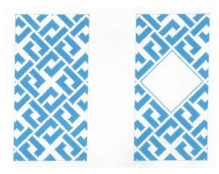 click here to view larger image of Blue Interlocking Diamonds Eyeglass Case (hand painted canvases)