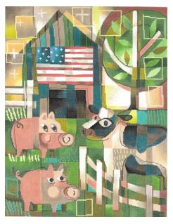 click here to view larger image of Pigs and Cow (hand painted canvases)