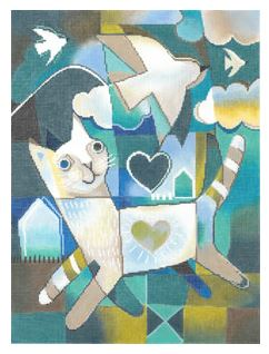 click here to view larger image of Cat and Dove (hand painted canvases)