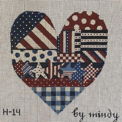 click here to view larger image of Americana Heart (hand painted canvases)
