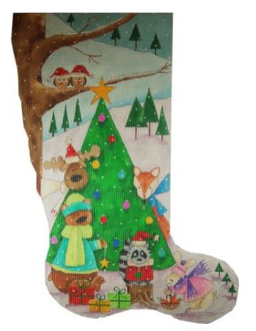 click here to view larger image of Woodland Christmas Tree Stocking (hand painted canvases)