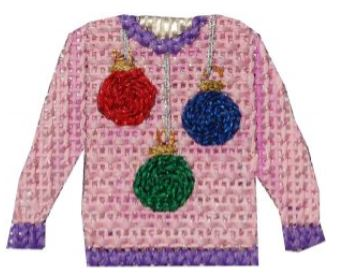 click here to view larger image of Ornaments Ugly Sweater (hand painted canvases)