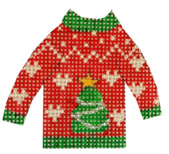 click here to view larger image of Christmas Tree Ugly Sweater (hand painted canvases)