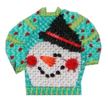 click here to view larger image of Snowman Face Ugly Sweater (hand painted canvases)