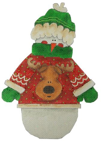 click here to view larger image of Reindeer - Snowman w/Ugly Sweater (hand painted canvases)