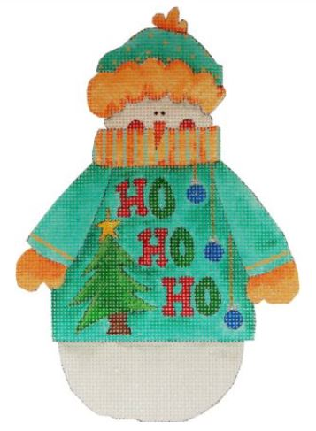 click here to view larger image of HO HO HO - Snowman w/Ugly Sweater (hand painted canvases)