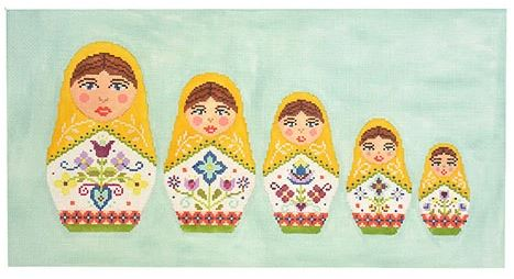 click here to view larger image of Russian Doll Pillow (hand painted canvases)