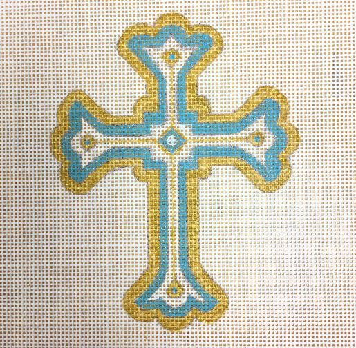 click here to view larger image of Cross Turquoise (hand painted canvases)