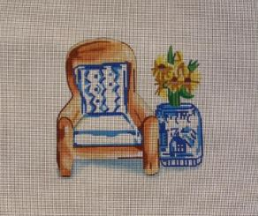 click here to view larger image of Chair w/Blue/White Pillow (hand painted canvases)