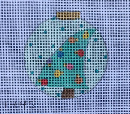 click here to view larger image of Aqua w/Tree Ornament (hand painted canvases)