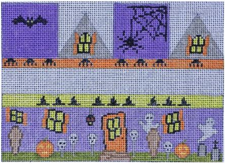 click here to view larger image of Halloween House (square) Hinged Box (hand painted canvases)