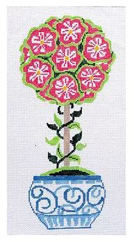 click here to view larger image of Small Pink Primrose Topiary (hand painted canvases)
