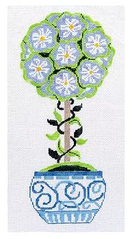 click here to view larger image of Small Periwinkle Primrose Topiary (hand painted canvases)