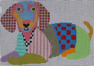click here to view larger image of Colorful Daschund (hand painted canvases)
