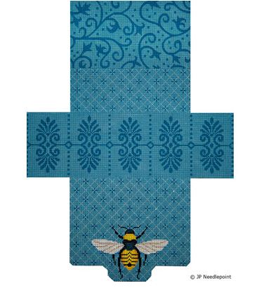 click here to view larger image of Elegant Bees and Patterns Brick Bag Purse (hand painted canvases)
