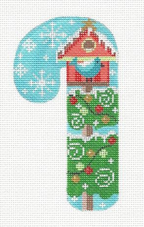 click here to view larger image of Birdhouse Candy Cane (hand painted canvases)