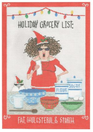 click here to view larger image of Holiday Grocery List (hand painted canvases)