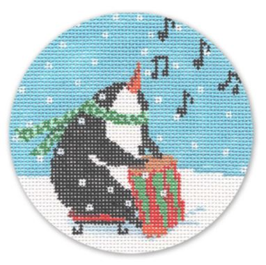 click here to view larger image of Penguin w/Drum (hand painted canvases)