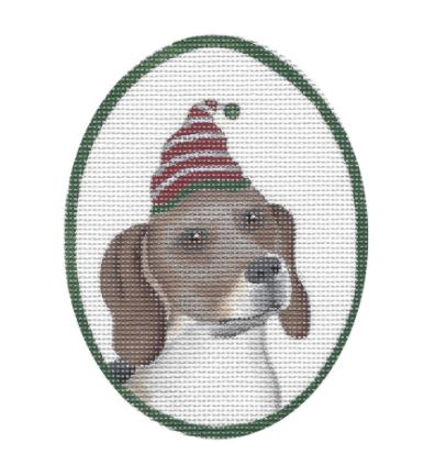click here to view larger image of Beagle w/White/Red Hat (hand painted canvases)