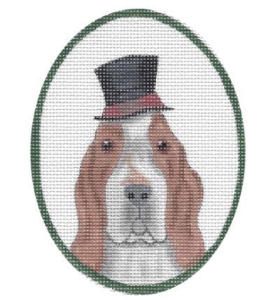 click here to view larger image of Basset Hound w/Top Hat (hand painted canvases)