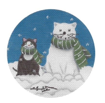click here to view larger image of Black Cat w/Cat Snowman (hand painted canvases)