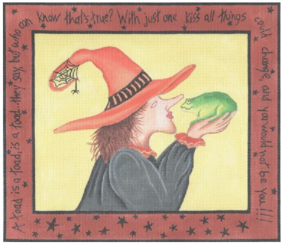 click here to view larger image of Witch w/Toad (hand painted canvases)